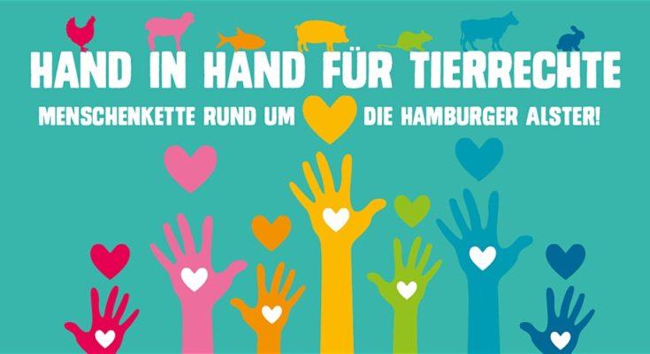 Menschenkette in Hamburg für Tierrechte
